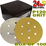 "Pro Range Gold 2362819912UK Plain Boxed Hook'N'Loop HookIt DA 6"" [150mm] Sanding Discs P120 Grit - Pack of 100 6+1 Hole Dust Extraction System Electric/Air Sanders Box of 100 Discs"
