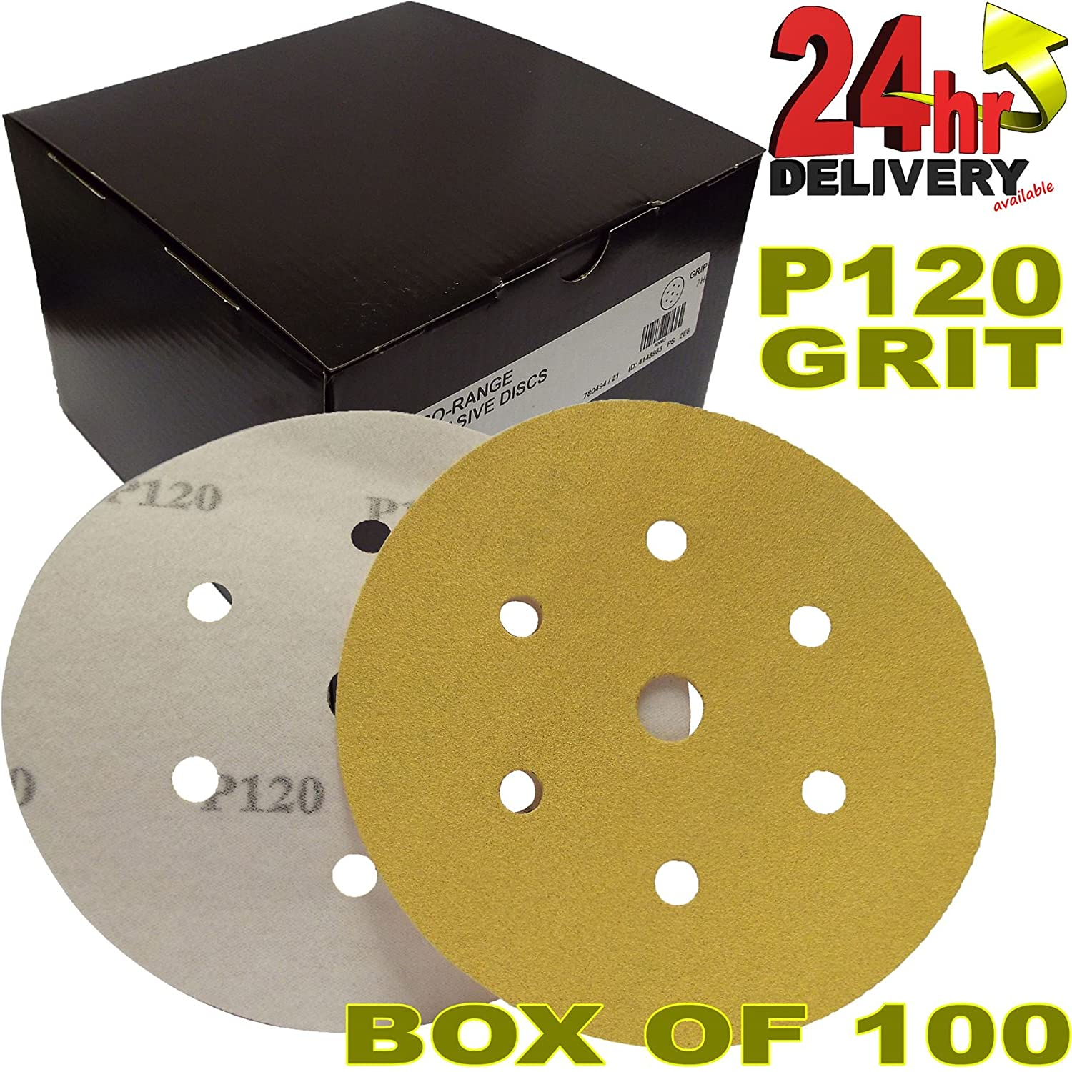 Pro Range Gold 2362819932UK Plain Boxed HookNLoop HookIt DA 6 150mm Pack of 100 6+1 Hole Dust Extraction System Electric//Air Sanders Box of 100 Discs Sanding Discs P320 Grit