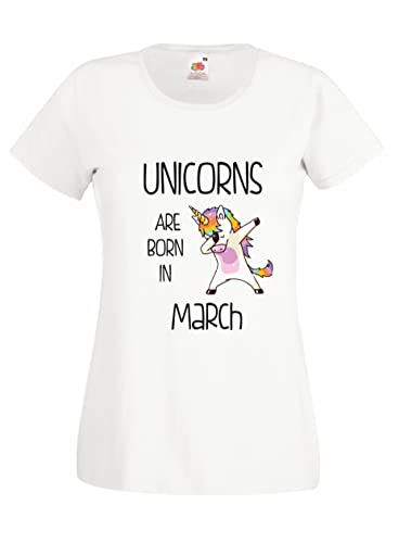 Settantallora – T-shirt Maglietta donna J2074 Unicorns Are Born In Marzo