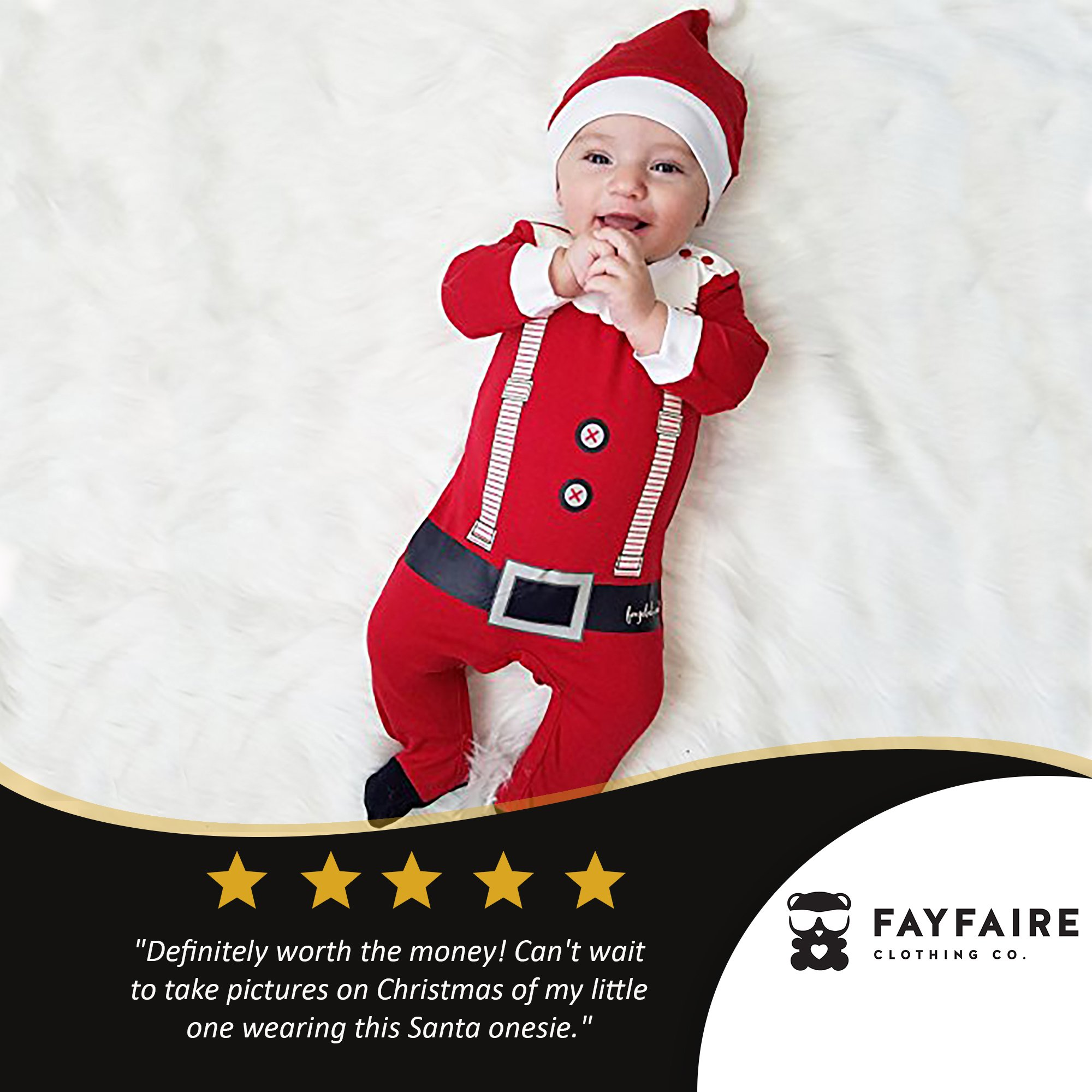 Fayfaire Christmas Pajamas Boutique Quality: Adorable Xmas Santa Suit with Hat 6-12M by Fayfaire (Image #2)