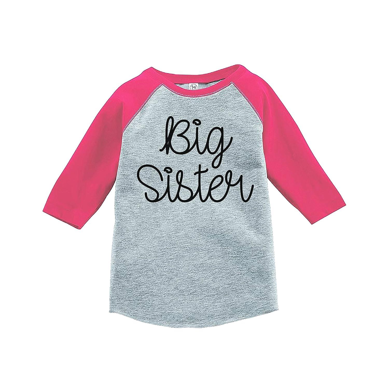 7 ate 9 Apparel Girls Big Sister Pink Baseball Tee
