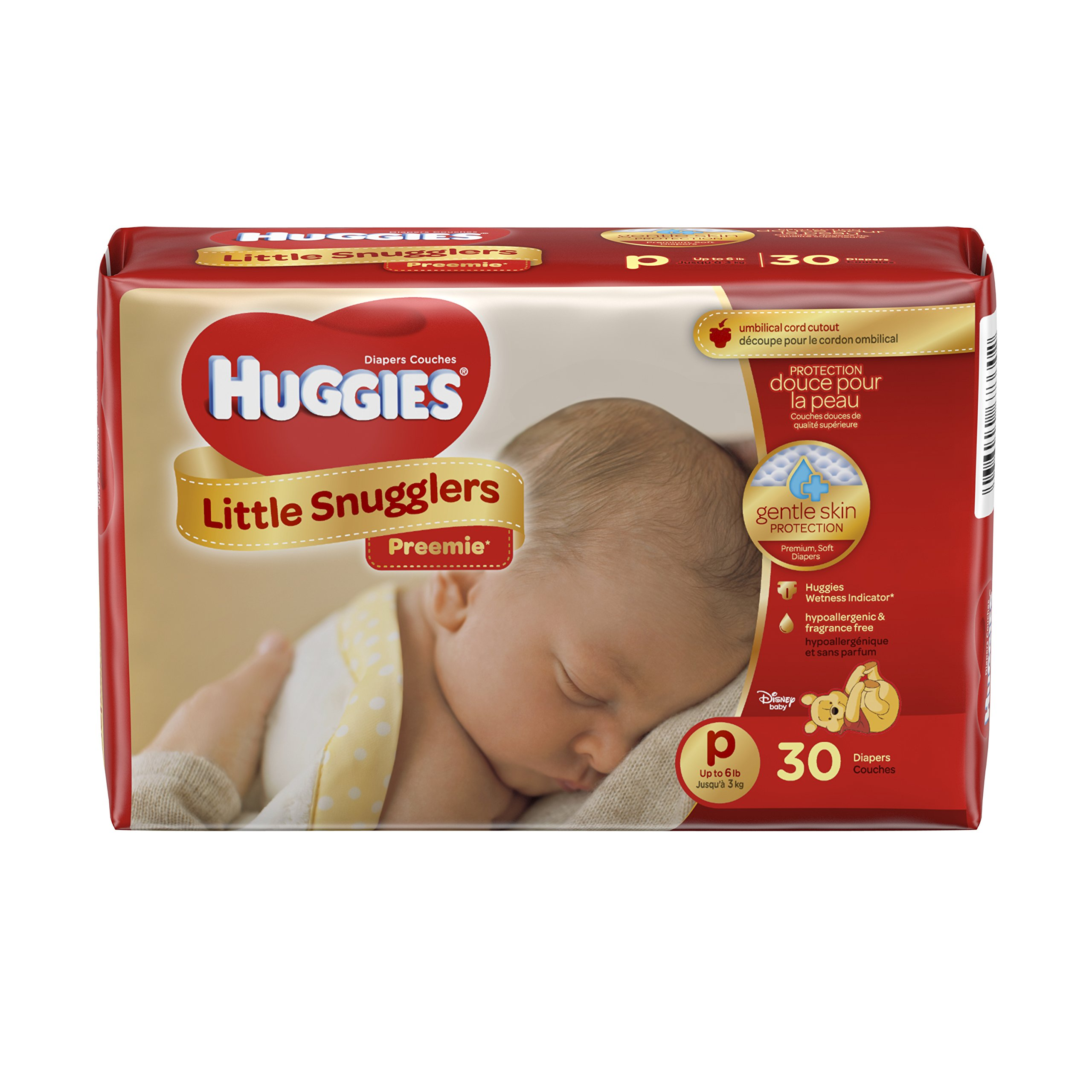 Huggies Little Snugglers Baby Diapers, Size Preemie, 30 Count (Pack of 2)