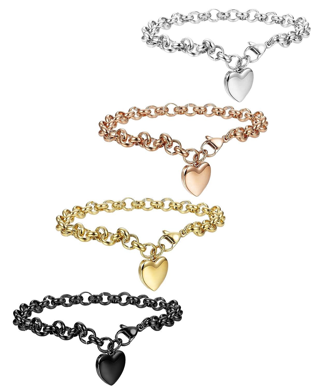 ec70da558 Amazon.com: FIBO STEEL 4 Pcs Stainless Steel Womens Charm Bracelets for Teen  Girls Link Heart Bracelets, 7.5 inches: Jewelry