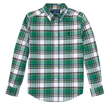 9108a3f9 Amazon.com: Polo Ralph Lauren Boys Plaid Cotton Poplin Button Down Shirt:  Clothing