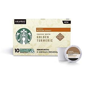 Starbucks Medium Roast Coffee K-Cup Pods with Golden Turmeric, Single Cup Coffee, 10 ct