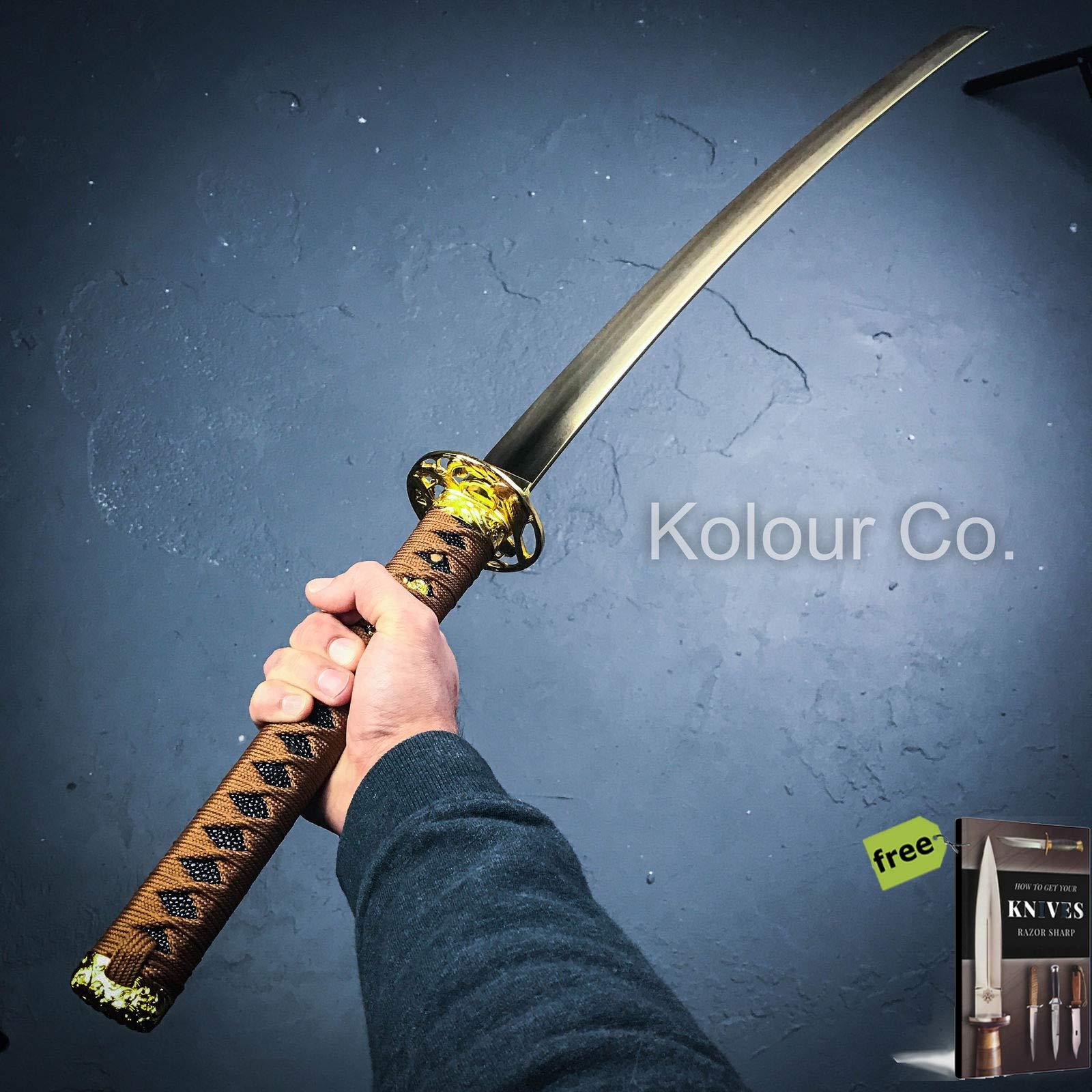 40'' GOLD DAMASCUS Full Tang SAMURAI KATANA SWORD Japanese Ninja w/SHEATH + Free eBook by SURVIVAL STEEL