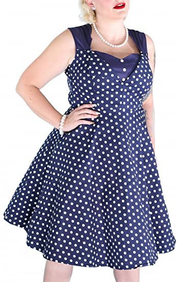 Yazaco 1950s Vintage Swing Polka Dot Dress Plus Size Cocktail