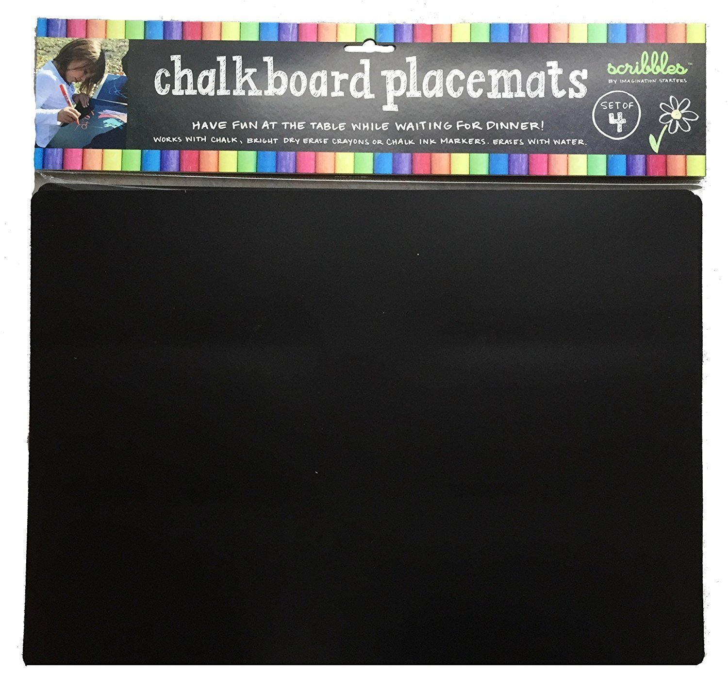 "Imagination Starters Reusable Washable 12"" x 17"" Flexi-mat Chalkboard Placemats- Draw, Color, Doodle - Set of 4"