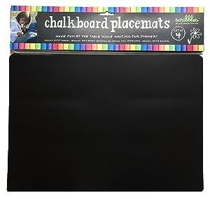 "Imagination Starters Reusable Washable 12"" x 17"" Flexi-mat Chalkboard Placemats- Draw, Color, Doodle - Set of 4"