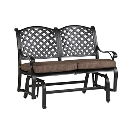 Cool Ipatio Sparta Bench Glider With Cushion Outdoor Metal Glider Caraccident5 Cool Chair Designs And Ideas Caraccident5Info