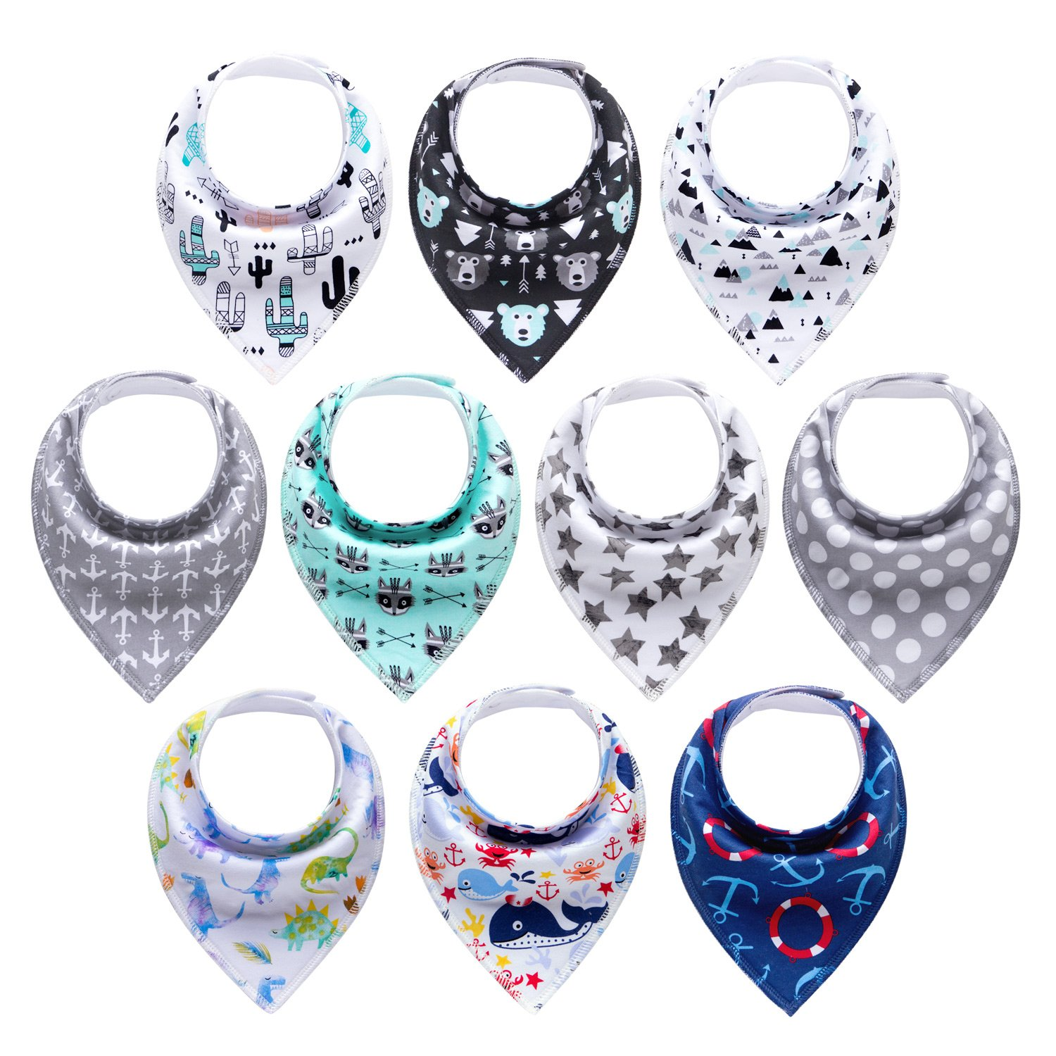 10-Pack Baby Boys Bandana Drool Bibs for Drooling and Teething by MiiYoung