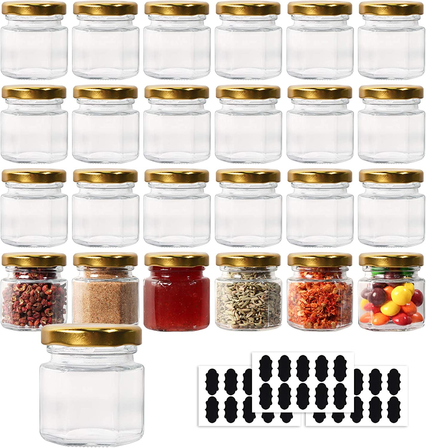 HWASHIN 24 Pack 1.5 oz Hexagon Mini Glass Jars with Gold Lids, Honey Jars Small Spice Jars Mason Jars with 30pcs Labels for Jam, Baby Foods, Gifts, Wedding Party Favors