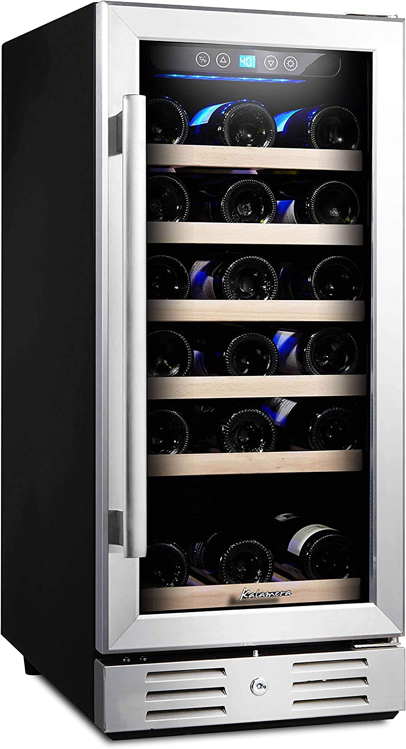 Kalamera 15 Wine Cooler 30 Bottle Built-in or Freestanding with Stainless Steel Double-Layer Tempered Glass Door and Temperature Memory Function