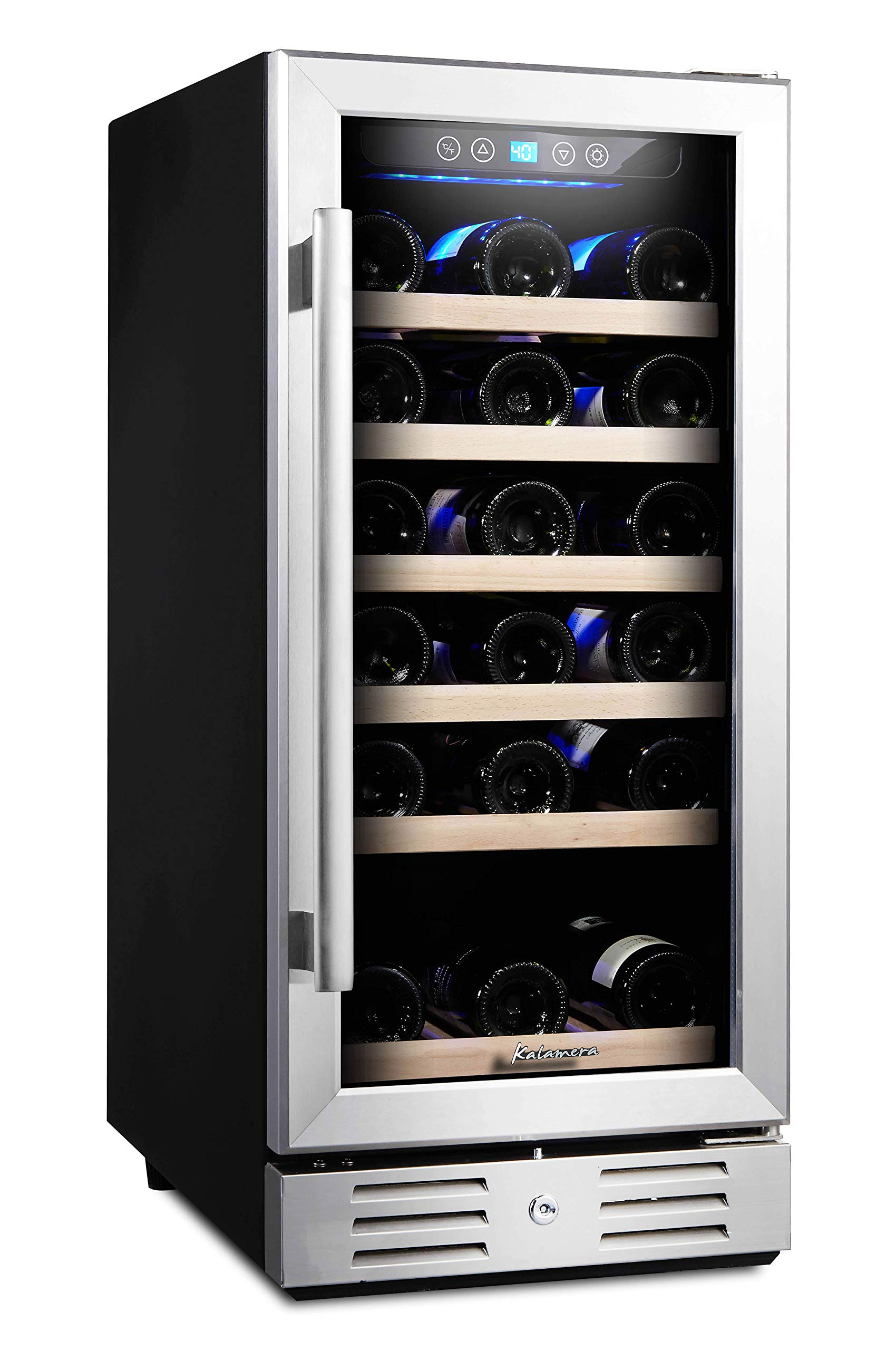 Kalamera 15'' Wine Cooler 30 Bottle Built-in or Freestanding with Stainless Steel & Double-Layer Tempered Glass Door and Temperature Memory Function by Kalamera