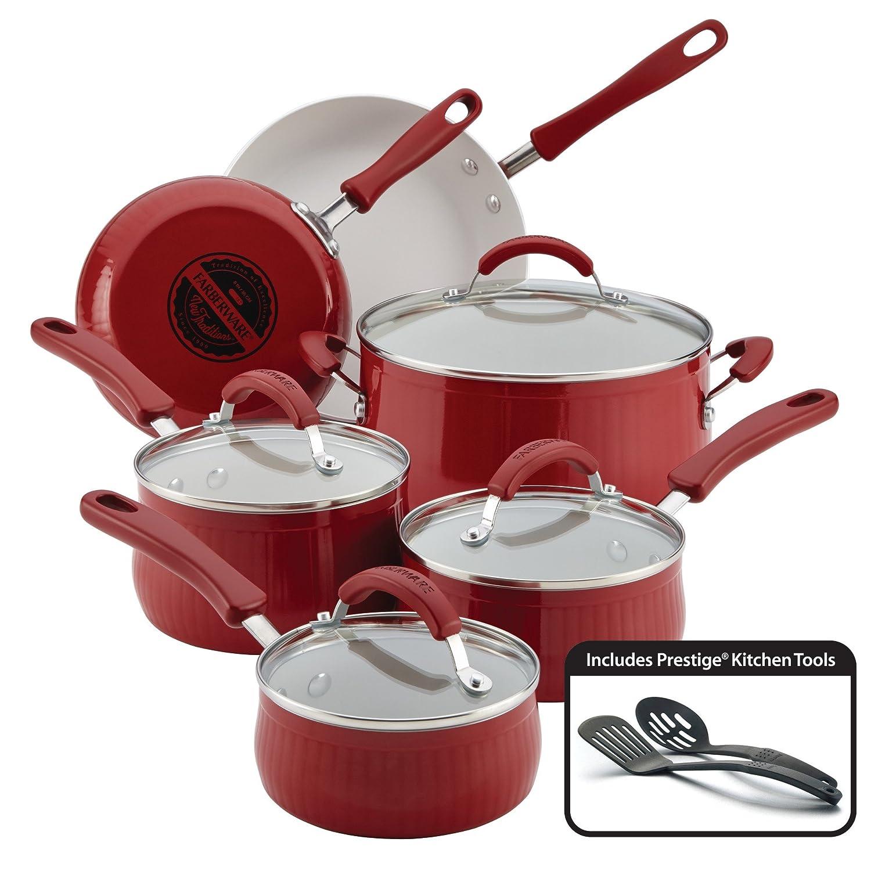 Farberware 12 piezas Batería de cocina antiadherente de aluminio nuevo tradiciones, un tamaño, color rojo: Amazon.es: Hogar