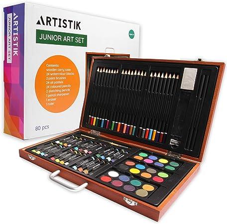 Conjunto de Arte de Madera - (82 Piezas) Conjunto Deluxe Arte y Creatividad Caja Set Profesional Artistica para colorear para principiantes, gran regalo para artistas, adultos, adolescentes y niños: Amazon.es: Hogar