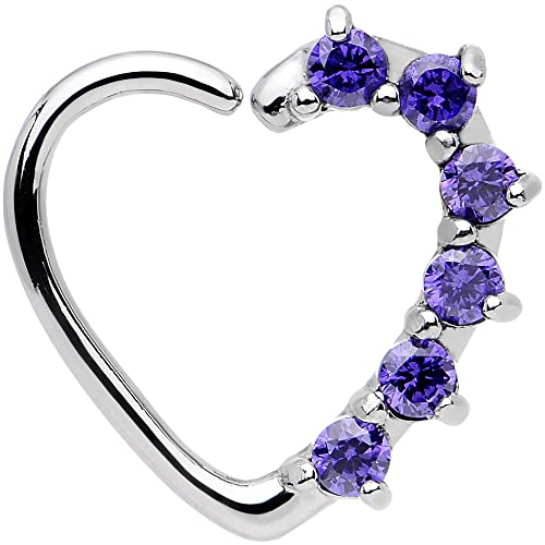 c96b6bc38f71b Body Candy 16 Gauge Purple Heart Left Closure Daith Cartilage Tragus Earring