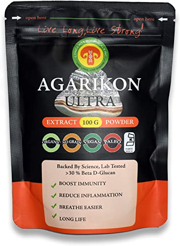 Wildcrafted AGARIKON Mushroom Powder Extract Immunity Longevity Superstar, Adult Strength, 100 Gram, 2 Month Supply, 30 Beta d- Glucans, Fruiting Body No Filler, Reduce Inflammation, Breathe Easier