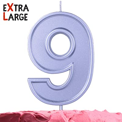 Get Fresh Number 9 Birthday Candle – Extra Large Silver Number Nine Candle on Stick –3.94 Inch Silver Number Candles for Birthday Anniversary – Nine Bday Candle Cake Topper – Large Silver 9 Candle: Home & Kitchen