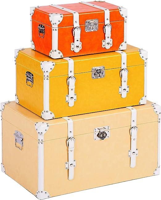 ts-ideen – Juego de 3 maletas como baúl, caja, cajón, caja de madera, vintage, cofre de madera, piel sintética, estilo retro rústico, 3 colores: Amazon.es: Juguetes y juegos