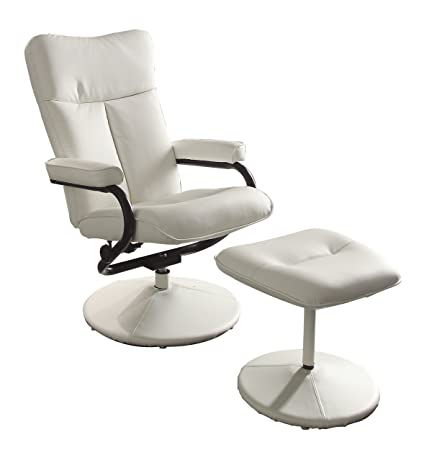 Homelegance 8555WHT 1 Swivel Reclining Chair With Ottoman, White Bonded  Leather Match