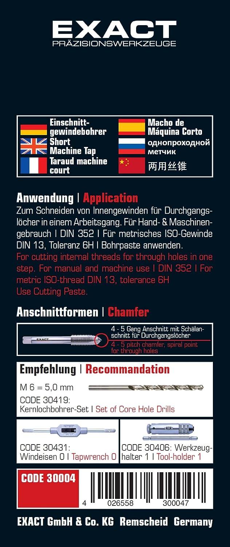 Import Allemagne Exact 30004 Taraud dincision Acier rapide DIN 352 M6