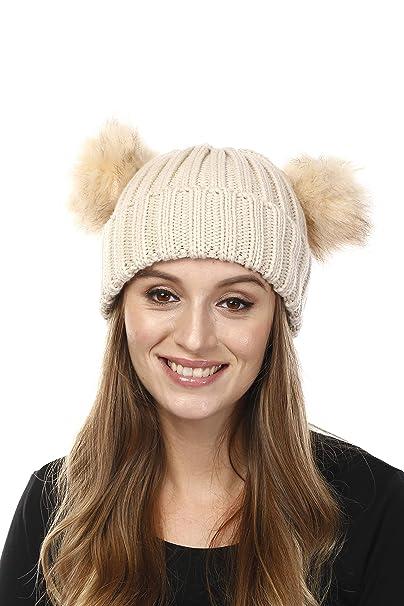 Fashion 21 Women s Winter Trendy Warm Knit Beanie Hat with Pom Pom Ears (w  956ae91a4a7