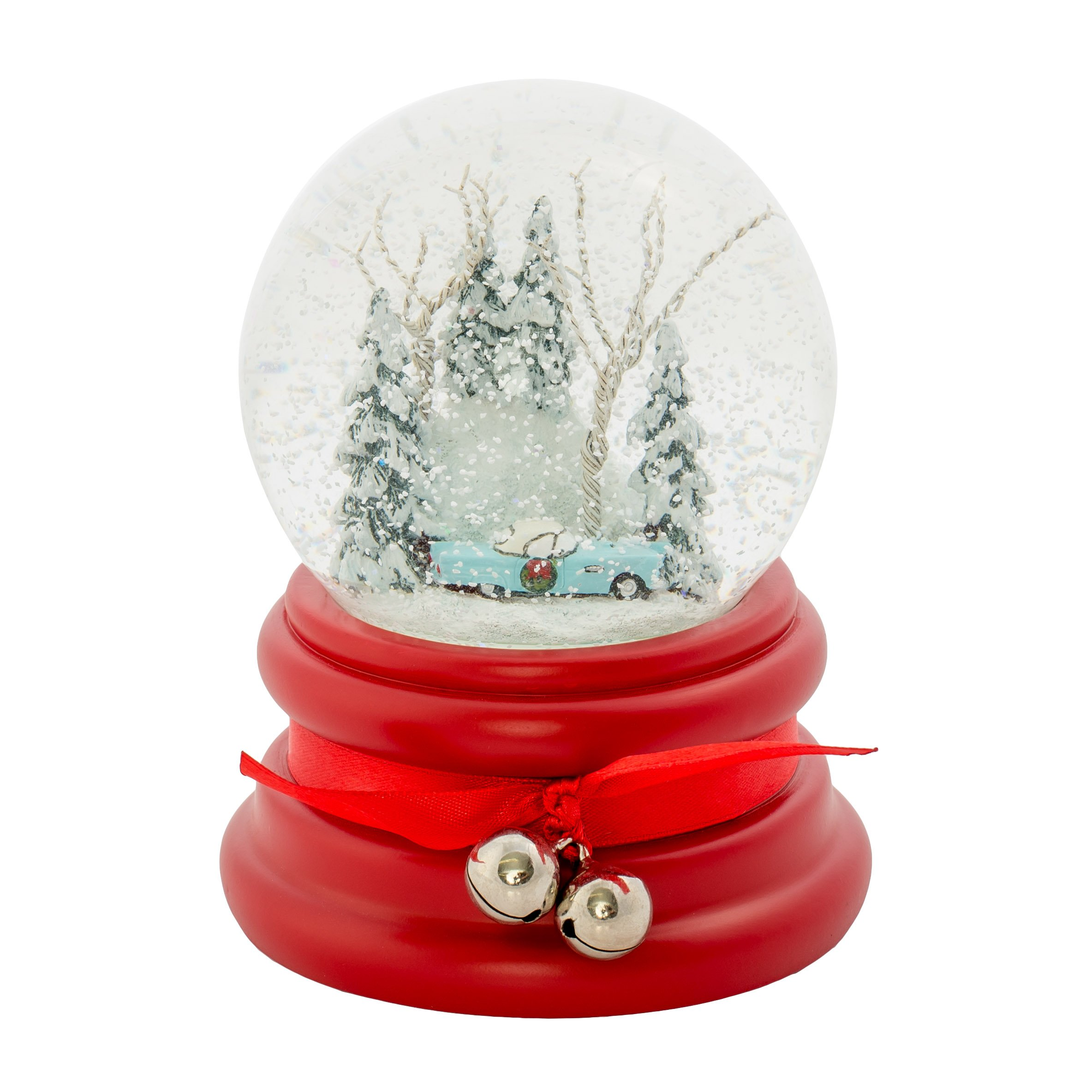 Ford 1955 Thunderbird Blue Winter 100MM Glitterdome Water Globe Plays Jingle Bell Rock