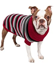 PET LIFE 'Polo-Casual Lounge' Cable Knit Fashion Designer Turtle Neck Pet Dog Sweater, X-Small, Red, Black and Grey