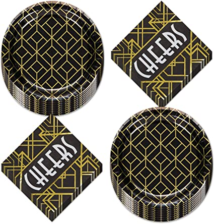 Retro Party Napkins 1920/'s Decorations Black and Gold Cheers Napkins 1920/'s Party Napkins- Roaring Twenties Party 20/'s Party Supplies