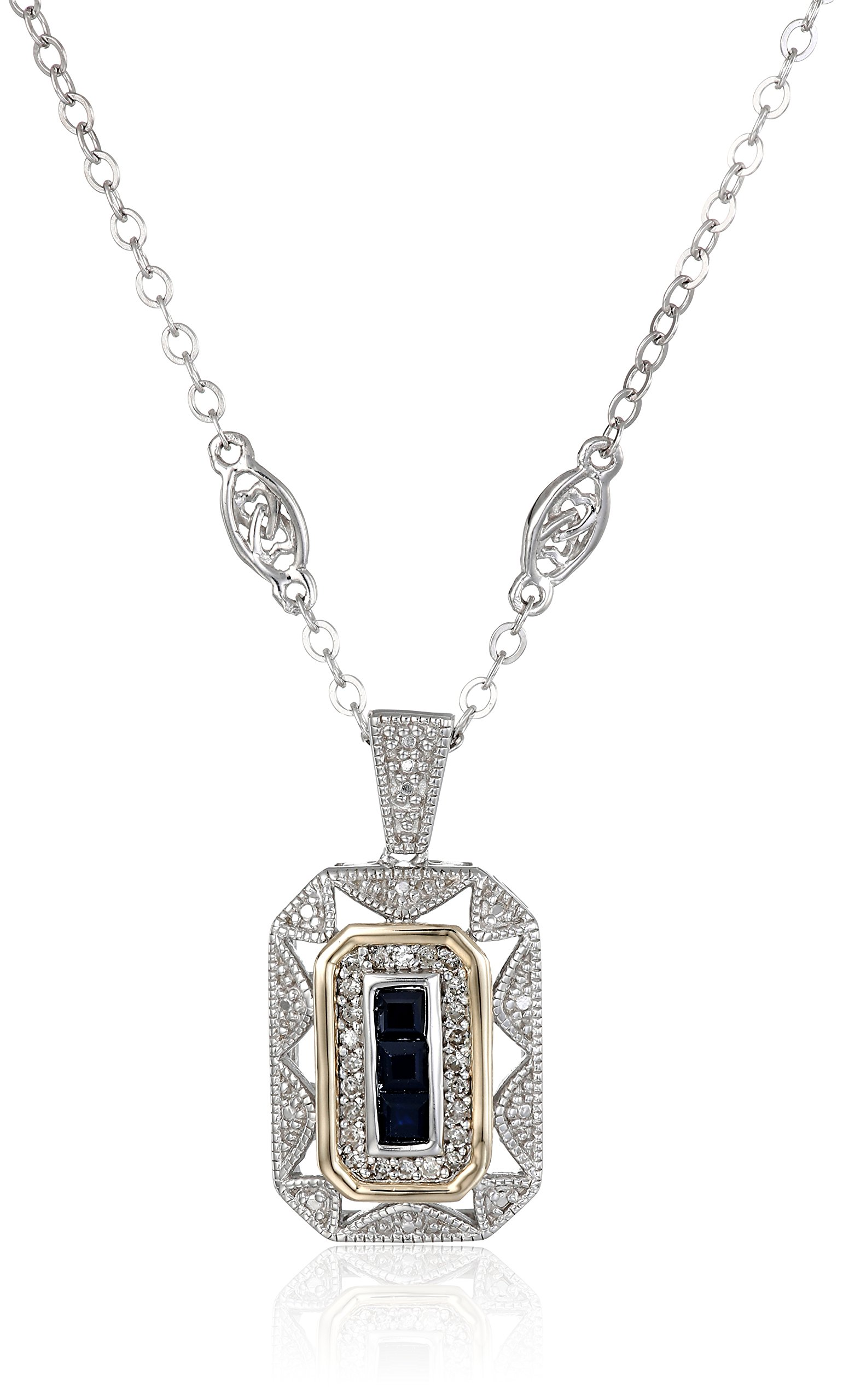 S&G Sterling Silver and 14k Yellow Gold Blue Sapphire with Diamond-Accent Art Deco Style Necklace (0.12 cttw, I-J Color, I2-I3 Clarity), 18''