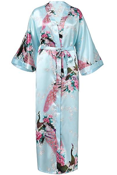 ArtiDeco Vestido Kimono Pijama de Seda Bata Novia Kimono de Seda Ropa de dormir de Satén Estampado Pavo Real