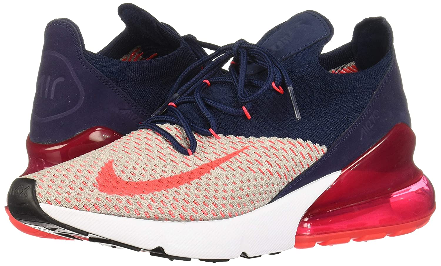 Nike Air Max 270 Flyknit Women S 10 Moon Particle Red Orbit College Navy Blue White