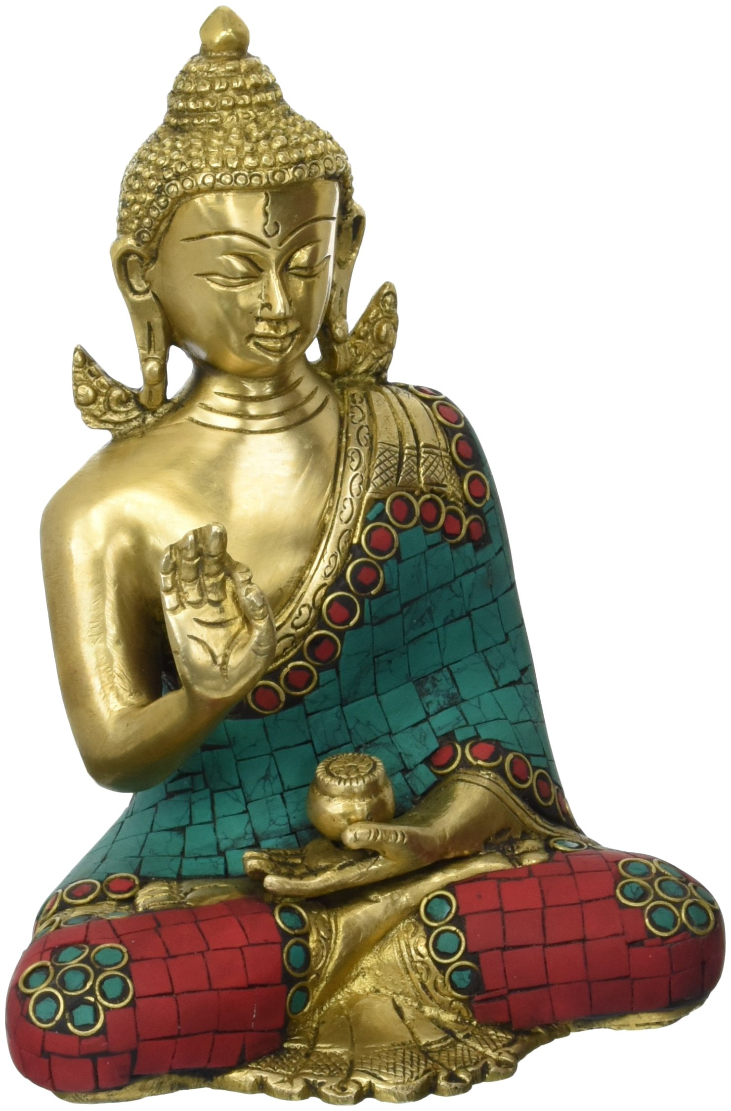 Aone India 6'' Thai Buddha Meditating Peace Harmony Statue - Brass Sculpture + Cash Envelope (Pack Of 10) by AONE INDIA