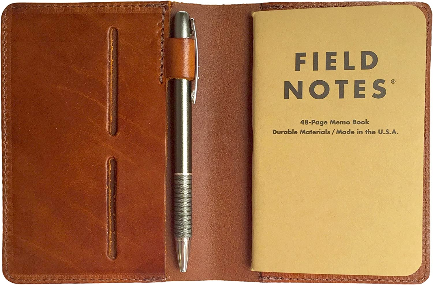 Pages | Pocket Size | Refillable | Qinlee Field Notes Cover Dotted Leather Journal Notebook