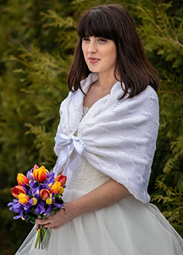5e744ecd8160e Amazon.com: White Wedding Shawls & Wraps, Winter Wedding Shawl ...