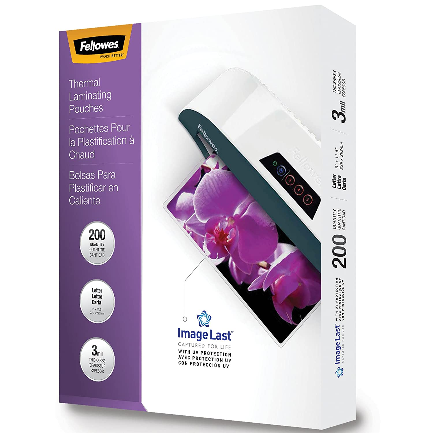 FELLOWES Thermal Laminating Pouches, ImageLast, Jam Free Letter Size, 3 Mil, 200 Pack (5244101)