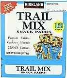 Kirkland Signature Trail Mix Snack Packs, Peanuts, M&M's Candies, Raisins, Almonds, Cashews, 2.5 oz, 18 ct