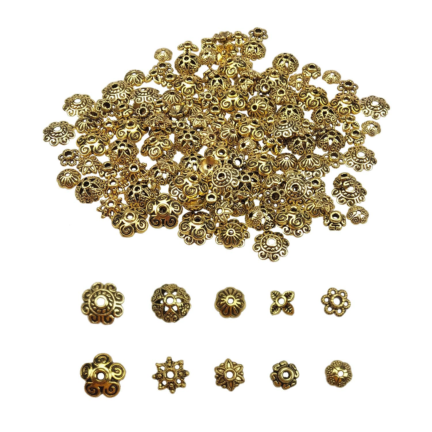 Pandahall 1Box//170pcs Tibetan Style Alloy Flower Petal Bead Caps Beads Spacers for Jewelry Makings 9-12mm in Diameter Antique Bronze
