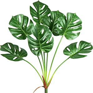 Artificial Palm Plants Tropical Monstera Leaves Faux Turtle Tree Leaf Fake Deliciosa Plant mitation Leaf Simulation Jungle Safari Leaves for Garden Office Store Jungle Beach Theme Party Decorations