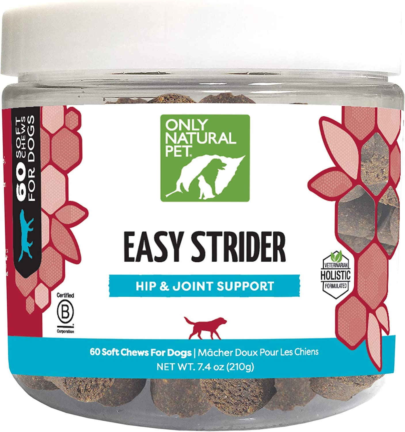 Only Natural Pet Easy Strider Hip and Joint Supplement, All Natural Holistic Glucosamine & Turmeric Formula for Dogs - Made in USA