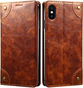 SINIANL iPhone 8 Plus Case, iPhone 7 Plus Case, Leather Wallet Folio Case Magnetic Closure Flip Cover with Stand and Credit Card Slot for iPhone 8 Plus / 7 Plus