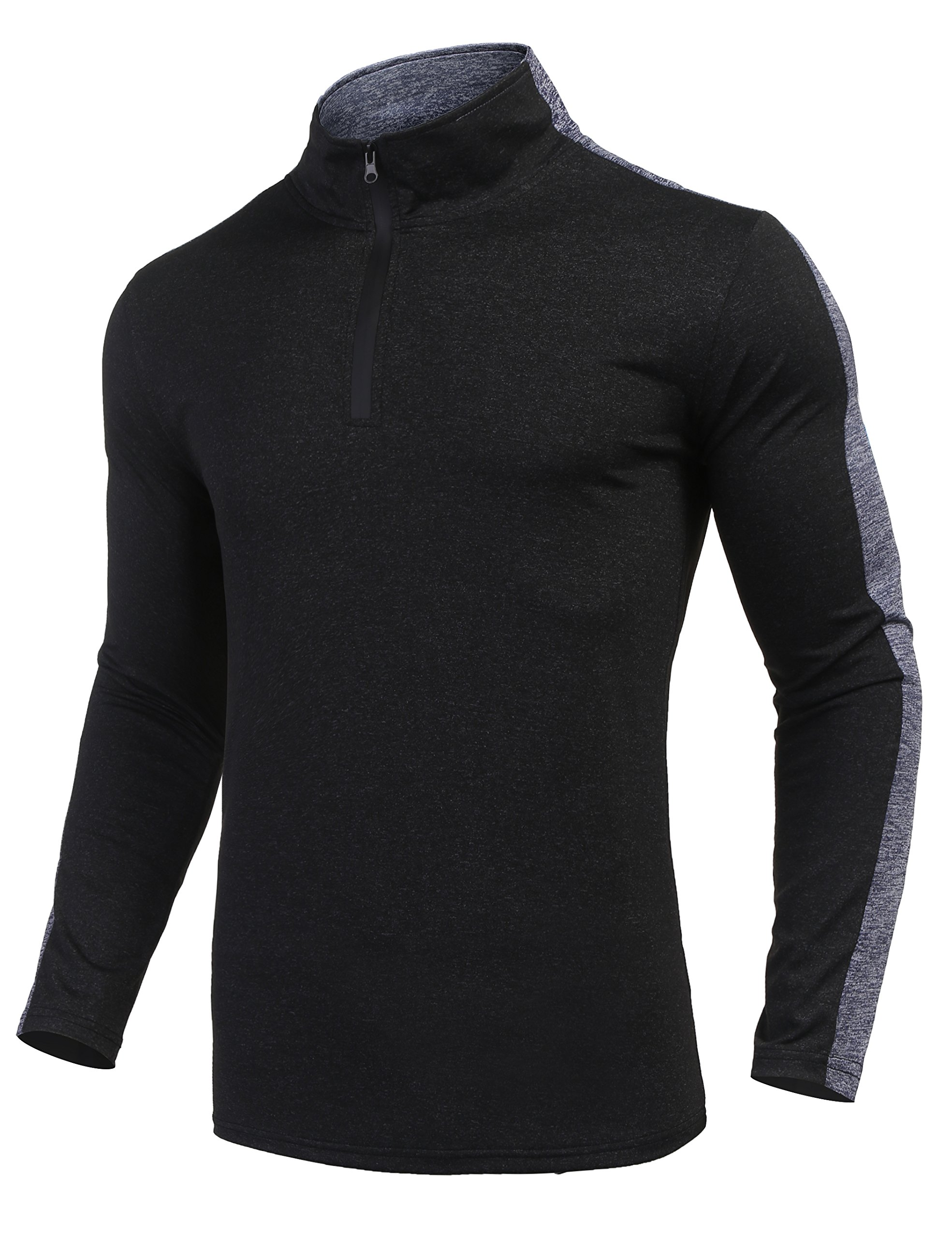 JINIDU Men's Long Sleeve Active 1/4 Zip T Shirt Quick Dry Sports Tops Cycling Jersey Running Training Gym Pullover by JINIDU
