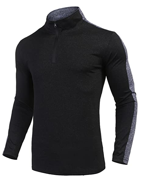 998214a62f86f COOFANDY Men's Long Sleeve Active 1/4 Zip T Shirt Quick Dry Sports Tops  Cycling