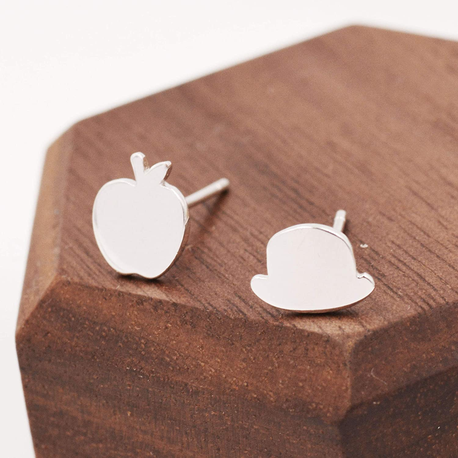 Magritte's Apple and Bowler Hat Mismatched Stud Earrings in Sterling Silver - Surrealism Stud Earrings - Painting Inspired Earrings