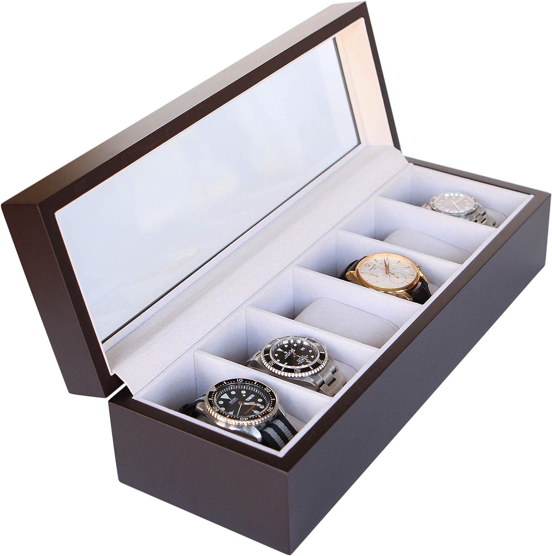 Caja Organizadora de Relojes de Madera Maciza Exhibidor Hecho por CASE ELEGANCE - 6 Compartimientos