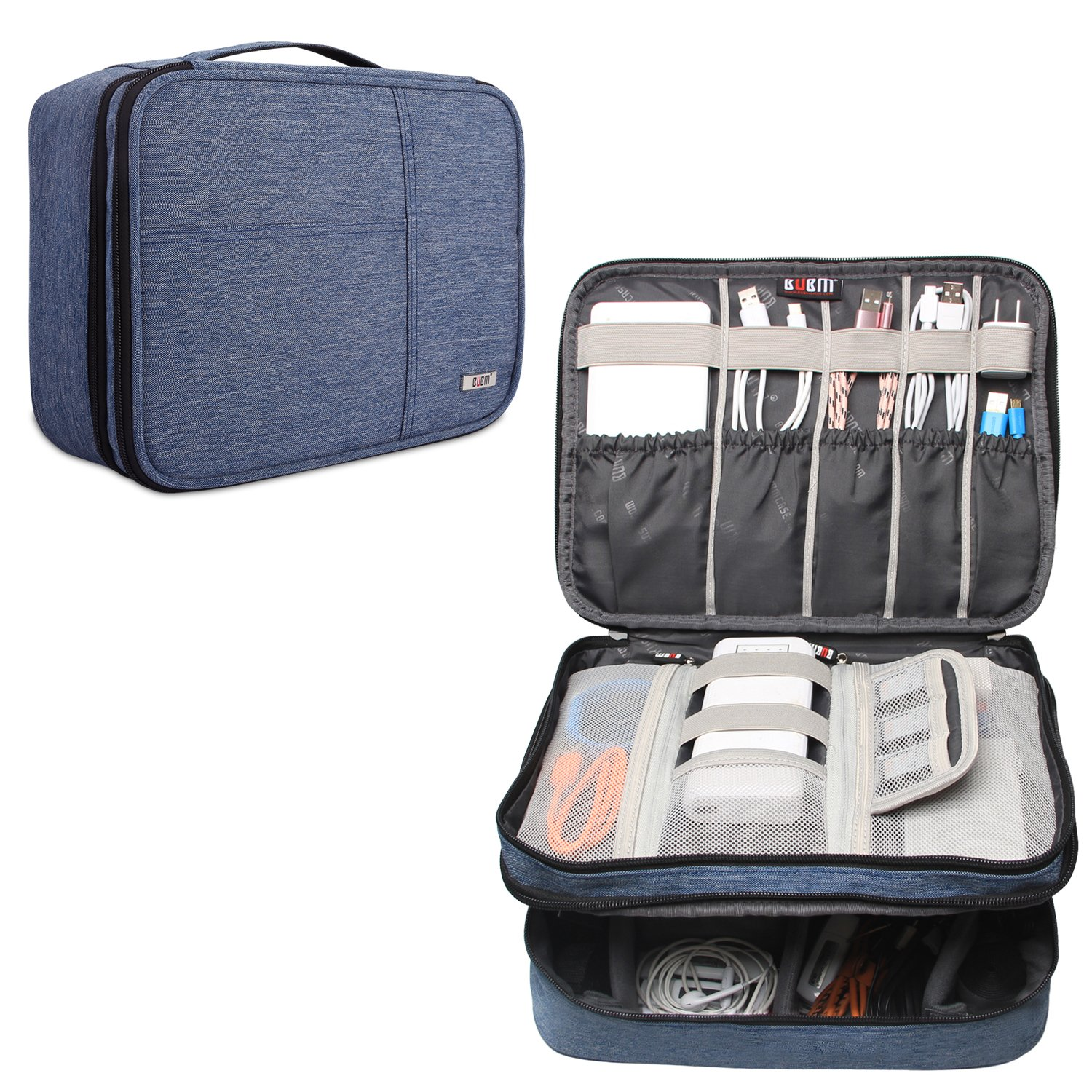 BUBM Travel Organizer, Electronic Accessories Storage Bag for Cord, Memory Card, Power Bank and More, A Pouch fits for iPad Pro (Extra Large, Denim Blue)