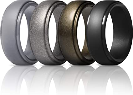 7 Rings // 4 Rings // 1 Ring Step Edge Breathable Edition Rubber Engagement Bands 10mm Wide 2.5mm Thick ThunderFit Silicone Wedding Rings for Men Breathable Airflow Inner Grooves