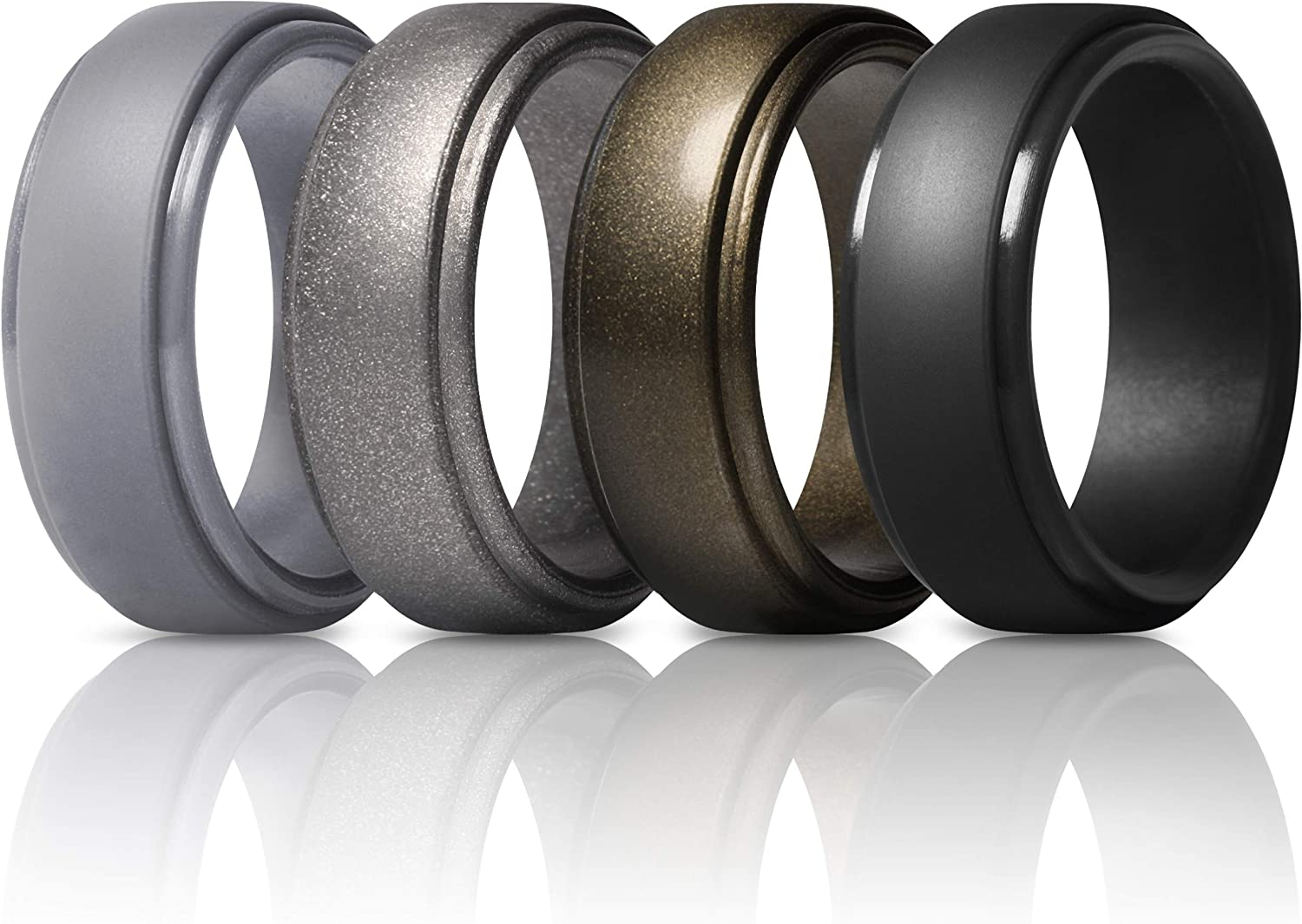 ThunderFit Men's Silicone Ring, Step Edge Rubber Wedding Band, 10mm Wide, 2.5mm Thick