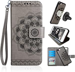 CASEOWL Mandala Embossed Upgrade Version Wallet Case for iPhone 8-Plus&7-Plus,Magnetic Detachable TPU Case,RFID Protection,2-Way Stands,Fit Car Mount,Card Slots Holder,Wrist Strap[Gray][2th Gen]